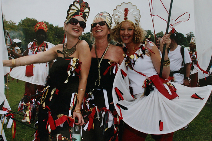 2011: Rose Farrar, Jane Storr and Dr Emily Zobel Marshall, performing in the Harrison Bundey Troupe at the Leeds West Indian Carnival.
