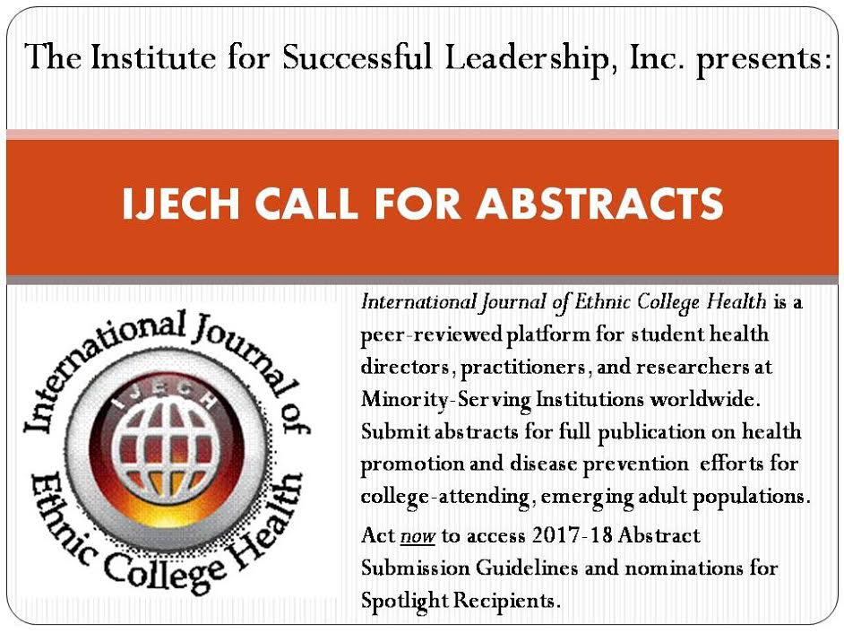 International Journal of Ethnic College Health Call for Abstracts