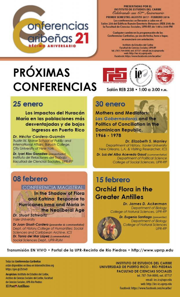 Conferencias Caribeñas - El Instituto de Estudios del Caribe flyer