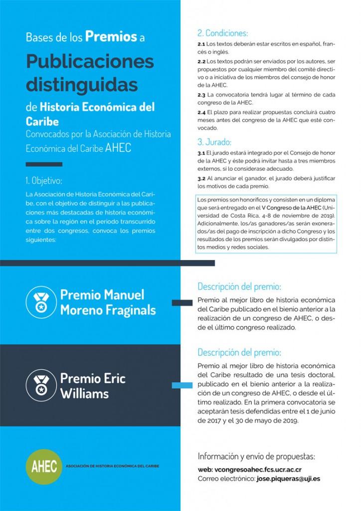 PREMIOS A PUBLICACIONES DISTINGUIDAS DE HISTORIA ECONÓMICA DEL CARIBE