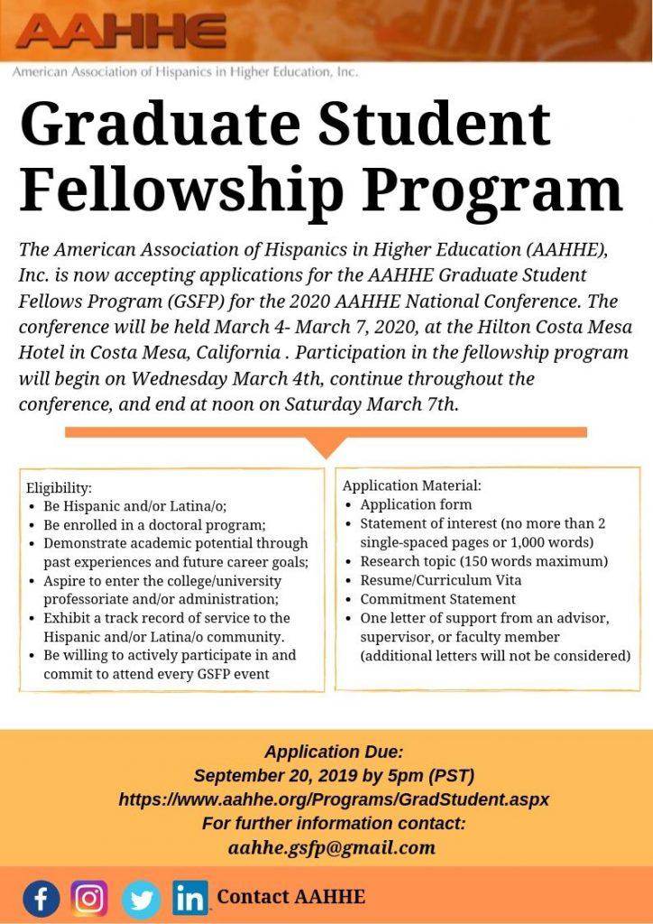 American Association of Hispanics in Higher Education Graduate Student Fellows Program flyer