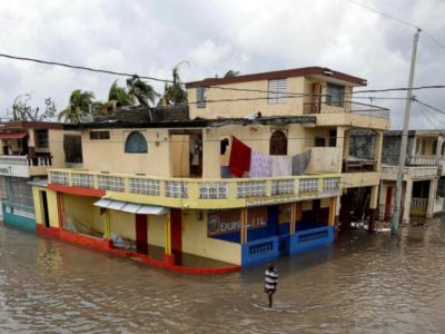 Haitian neighborhood after hurricane Matthew