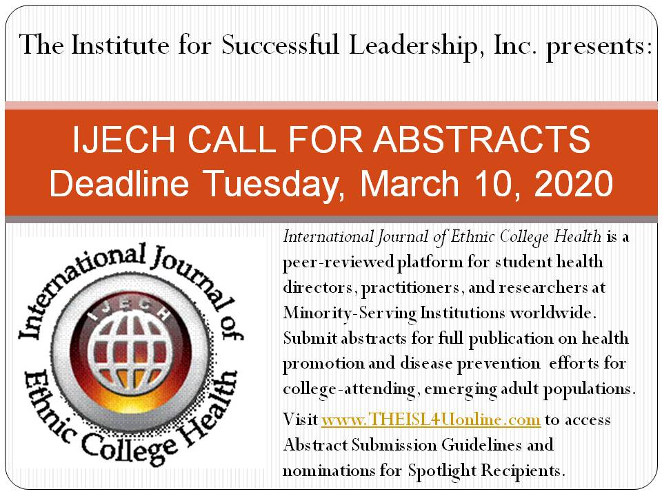 International Journal of Ethnic College Health CFP flyer