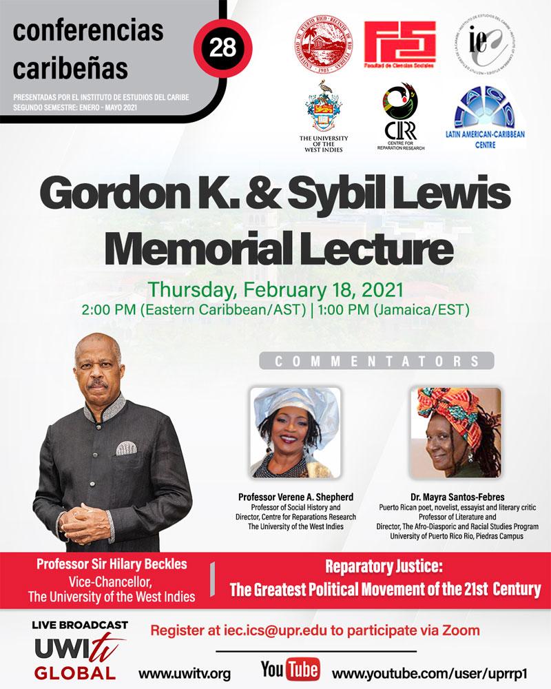 Gordon K. & Sybil Lewis Memorial 2021 Lecture flyer
