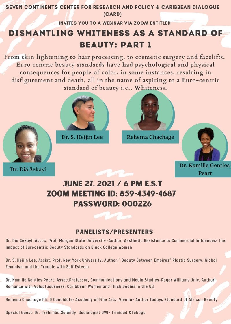 Dismantling Whiteness as a Standard of Beauty event flyer