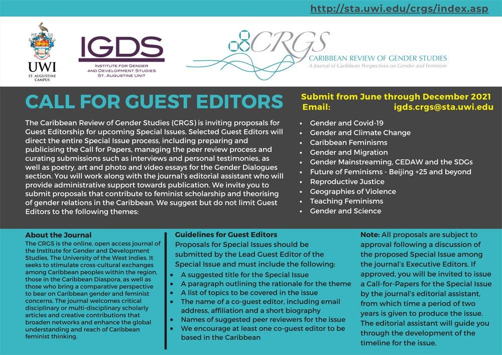Caribbean Review of Gender Studies call for guest editors